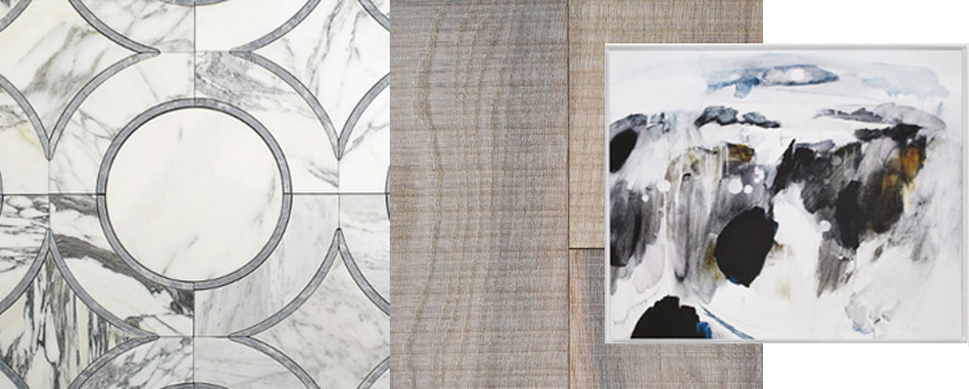 Circular Marble Tile from Tile Bar, Wood Flooring from Stonetile and Artwork from Ben Lowe